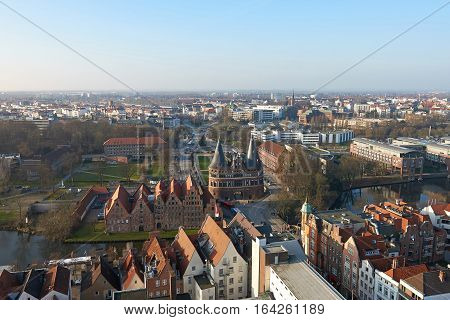Aerial view of Lübeck in Germany on a sunny day