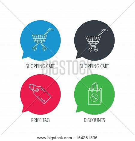 Colored speech bubbles. Shopping cart, discounts bag and price tag icons. Sale coupon linear sign. Flat web buttons with linear icons. Vector