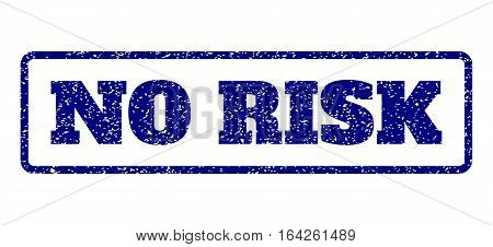 Navy Blue rubber seal stamp with No Risk text. Vector message inside rounded rectangular banner. Grunge design and scratched texture for watermark labels. Horisontal sticker on a white background.