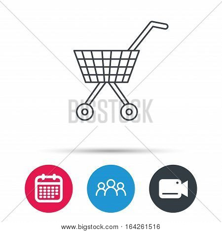 Shopping cart icon. Market buying sign. Group of people, video cam and calendar icons. Vector