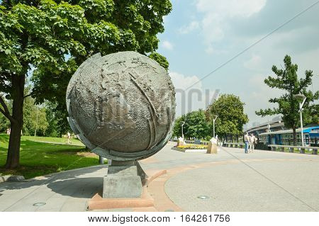 Moscow, Russia - July 29, 2016. Globe in Moscow cosmonauts alley