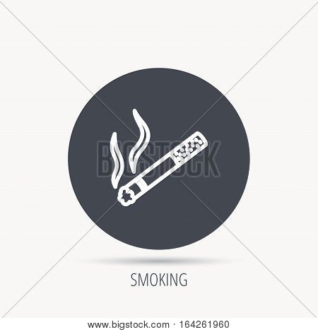 Smoking allowed icon. Yes smoke sign. Round web button with flat icon. Vector