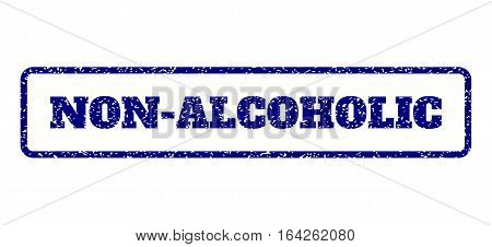 Navy Blue rubber seal stamp with Non-Alcoholic text. Vector caption inside rounded rectangular shape. Grunge design and scratched texture for watermark labels.