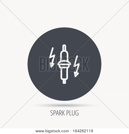 Spark plug icon. Car electric part sign. Round web button with flat icon. Vector