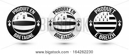 Set of Made in Brittany labels vector templates with signs in French and Breton languages