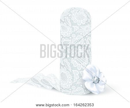 White vector Breton lace cup of Bigouden region isolated on white background