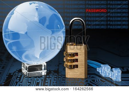 The Concept Of Security On The Internet. Lock, Cable, Glass Globe.