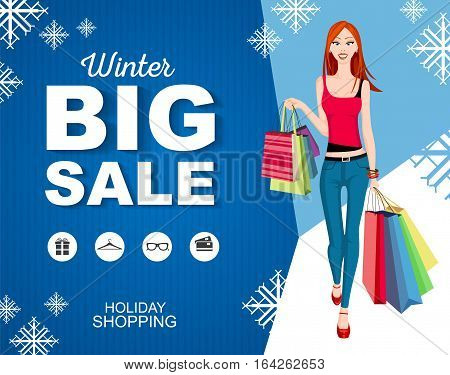 Flat style poster winter Big sale with icons. Shopping woman model