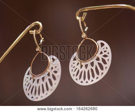 Jewelry, earrings hanging on a neutral background