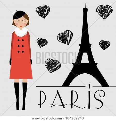 Cute kawaii happy girl in red coat and beret and Eiffel tower silhouette vector illustration. Love Paris concept