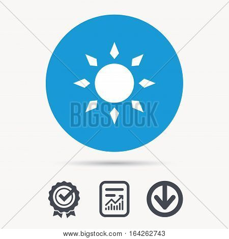 Sun icon. Sunny weather symbol. Achievement check, download and report file signs. Circle button with web icon. Vector