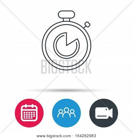 Timer icon. Stopwatch sign. Sport competition symbol. Group of people, video cam and calendar icons. Vector