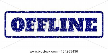Navy Blue rubber seal stamp with Offline text. Vector caption inside rounded rectangular banner. Grunge design and unclean texture for watermark labels. Horisontal sign on a white background.