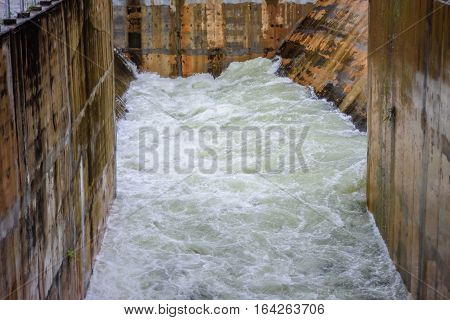 Landscape of dam spillway with Water flow