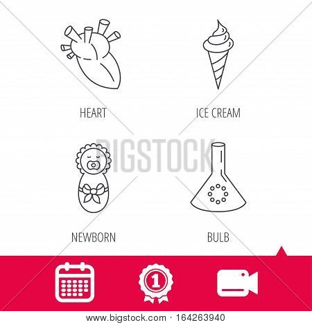 Achievement and video cam signs. Newborn, heart and lab bulb icons. Ice cream linear sign. Calendar icon. Vector