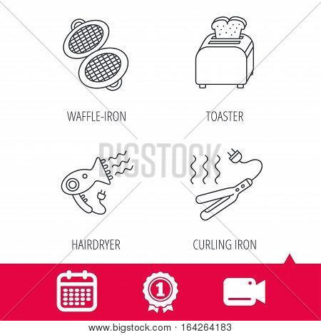 Achievement and video cam signs. Curling iron, hair-dryer and toaster icons. Waffle-iron linear sign. Calendar icon. Vector