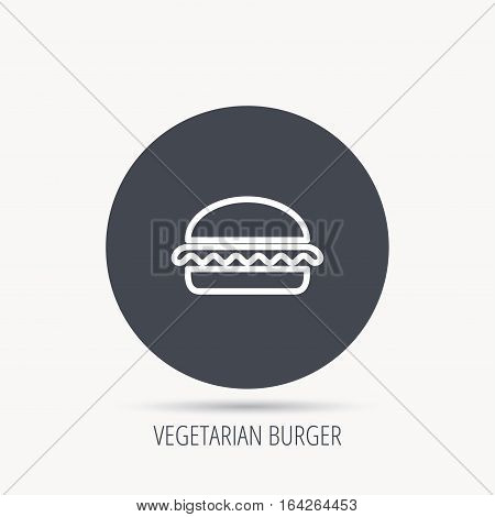 Vegetarian burger icon. Healthy fast food sign. Burger symbol. Round web button with flat icon. Vector