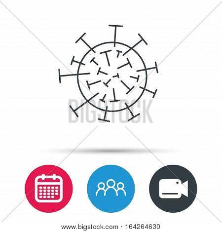 Virus icon. Molecular cell sign. Biology organism symbol. Group of people, video cam and calendar icons. Vector