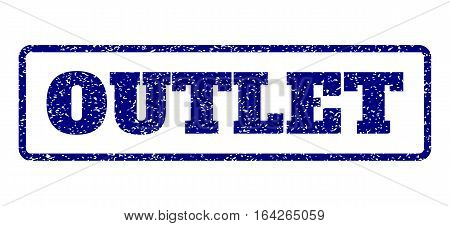 Navy Blue rubber seal stamp with Outlet text. Vector message inside rounded rectangular banner. Grunge design and dirty texture for watermark labels. Horisontal emblem on a white background.