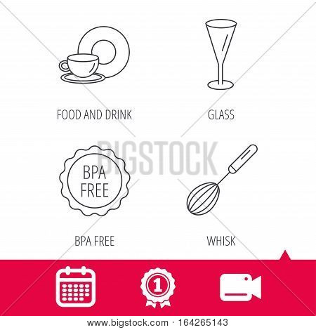 Achievement and video cam signs. Food and drink, glass and whisk icons. BPA free linear sign. Calendar icon. Vector