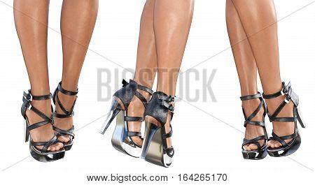 Set beautiful female legs in black sandals high heels. Sexy slim female legs. Seductive pose. Conceptual fashion art. 3D render illustration. Isolate.