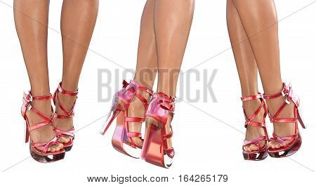 Set beautiful female legs in red sandals high heels. Sexy slim female legs. Seductive pose. Conceptual fashion art. 3D render illustration. Isolate.
