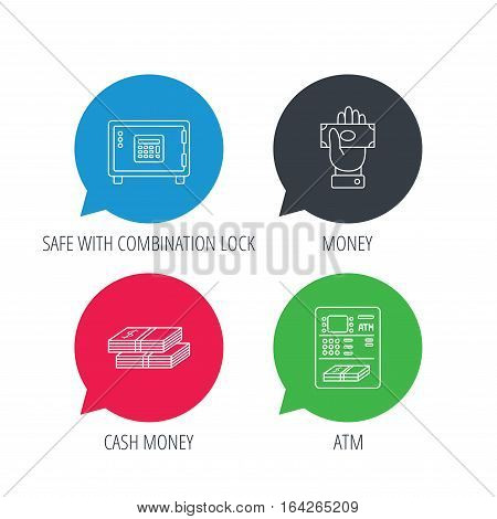 Colored speech bubbles. Give money, cash money and ATM icons. Safe box linear sign. Flat web buttons with linear icons. Vector