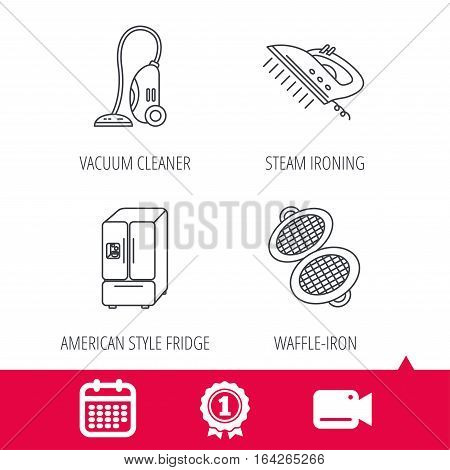 Achievement and video cam signs. Vacuum cleaner, steam ironing and waffle-iron icons. American style fridge linear sign. Calendar icon. Vector