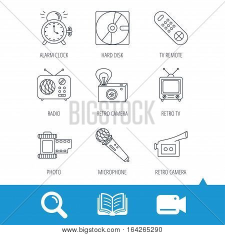 Microphone, video camera and photo icons. Alarm clock, retro radio and TV remote linear signs. Video cam, book and magnifier search icons. Vector