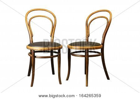 Antique Bentwood Viennese chair - furniture with leather isolated on white.