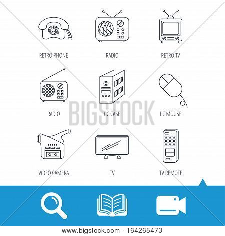 Radio, TV remote and video camera icons. Retro phone, PC case and mouse linear signs. Video cam, book and magnifier search icons. Vector