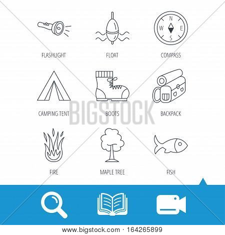 Maple tree, fishing float and hiking boots icons. Compass, flashlight and fire linear signs. Camping tent, fish and backpack icons. Video cam, book and magnifier search icons. Vector