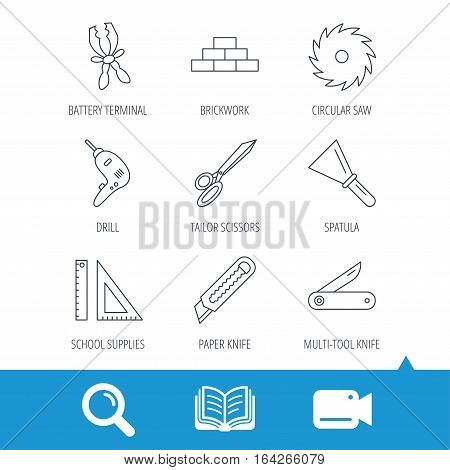 Paper knife, spatula and scissors icons. Circular saw, brickwork and drill tool linear signs. Multi-tool knife, rulers icons. Video cam, book and magnifier search icons. Vector