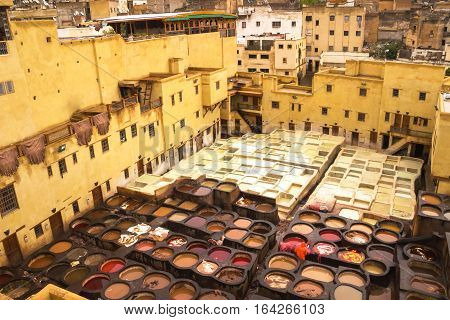 The famous leather Tannery of Fes Morocco