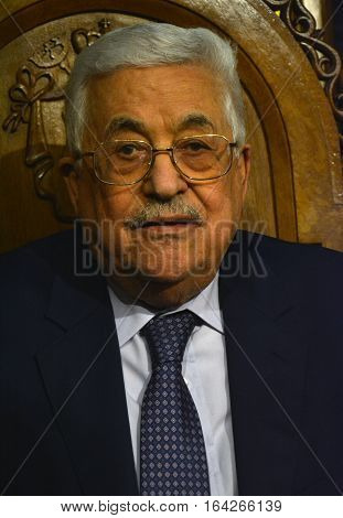 Bethlehem, Palestine. January 7Th 2017: Palestinian President, Mahmoud Abbas At Orthodox Christmas M