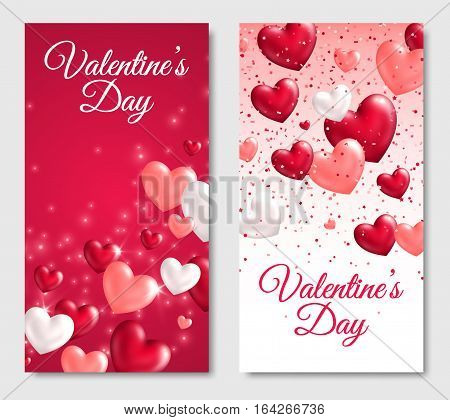Valentines Day Vertical Banners. Glossy Hearts on White and Red Background. Vector illustration. Lights and sparkles, confetti