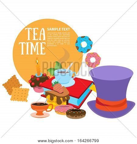 Illustration to the fairy tale Alice's Adventures in Wonderland. Sweets and pastries. Purple hat and treats. Template background with space for text.