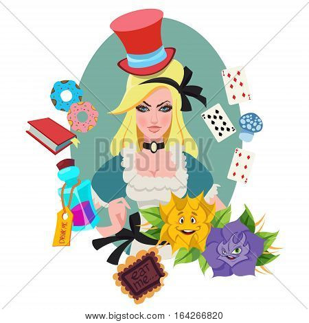Alice surrounded by fabulous items. Illustration to the fairy tale Alice's Adventures in Wonderland.