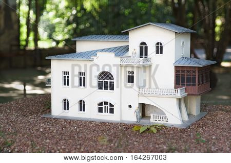 ALUSHTA CRIMEA RUSSIA-SEPTEMBER 19.2015: the layout of the house-Museum of Anton Chekhov in Yalta in the Park