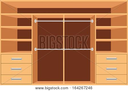 Closet Wardrobe with shelves and drawers. Empty cupboard Furniture interior design Wardrobe room vector illustration.
