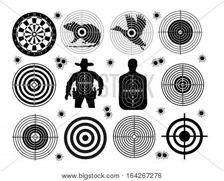 Set of targets shoot gun aim animals people man isolated. Sport Practice Training. Sight bullet holes. Targets for shooting. Darts board archery. vector illustration.