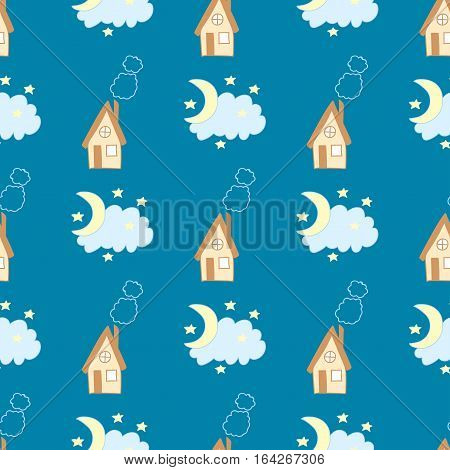 Goodnight. Funny seamless pattern with house, sky and moon on a blue background.
