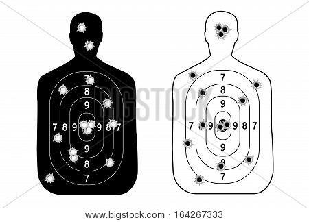 Human man set shooting range target shot of bullet holes. vector illustration