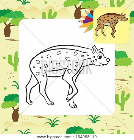 Illustration of hyena standing. Coloring page. Vector