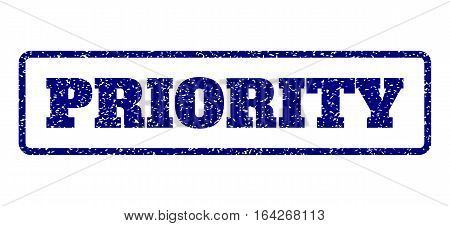 Navy Blue rubber seal stamp with Priority text. Vector caption inside rounded rectangular banner. Grunge design and dust texture for watermark labels. Horisontal sticker on a white background.