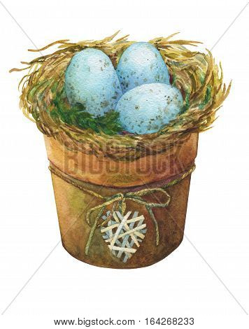 Bird nest with blue eggs in a flowerpot with a decorative heart, homes decor for Easter. Hand-drawn watercolor illustration.
