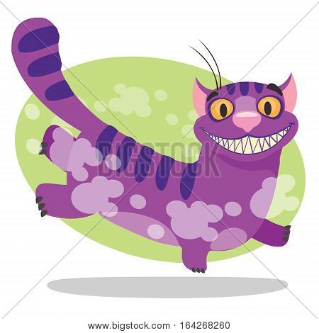 Cheshire Cat. Illustration to the fairy tale Alice's Adventures in Wonderland. Purple cat with a big smile runs.