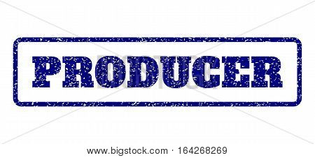 Navy Blue rubber seal stamp with Producer text. Vector caption inside rounded rectangular banner. Grunge design and scratched texture for watermark labels. Horisontal sticker on a white background.