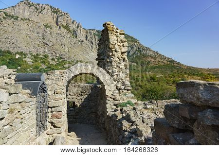 The medieval fortress Funa, located on a rocky hill at the foot of the mountain South Demerdzhi. Crimea.