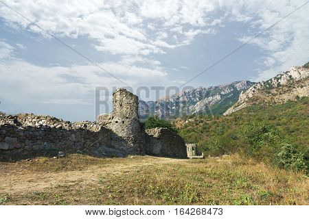 The medieval fortress Funa at the foot of the mountain South Demerdzhi. Crimea Russia